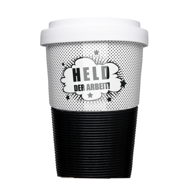 Mehrweg Coffee-to-Go Becher im coolen Design »Held der Arbeit«