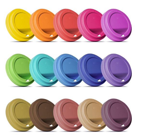 Farbige Deckel aus Kunststoff für den Coffee2Go Becher