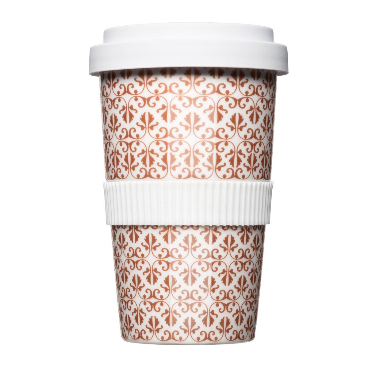 Der Coffee2Go Mehrwegbecher aus Porzellan mit elegantem Bronze Pattern Muster