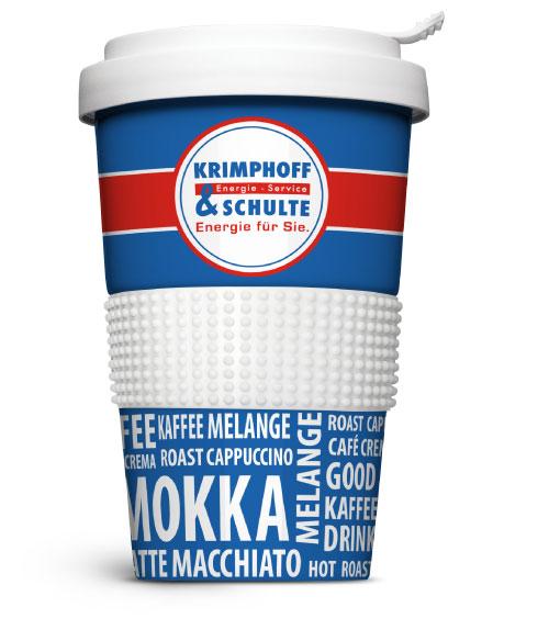 Der Kaffeebecher-to-go für Krimphoff & Schulte