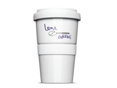 Der Mehrweg Coffee-to-go RFID-Becher für das Café Lenz und Deli